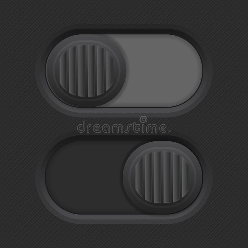 Czarni suwaka 3d pchnięcia guziki royalty ilustracja