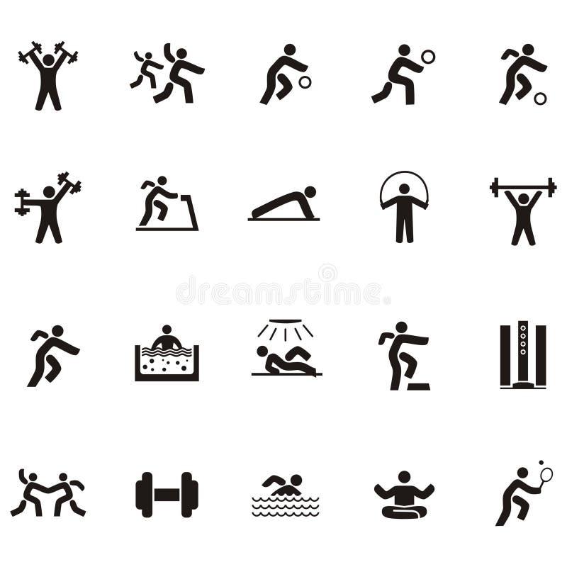 Czarni sylwetki ikony ludzie wymagający w sportach royalty ilustracja