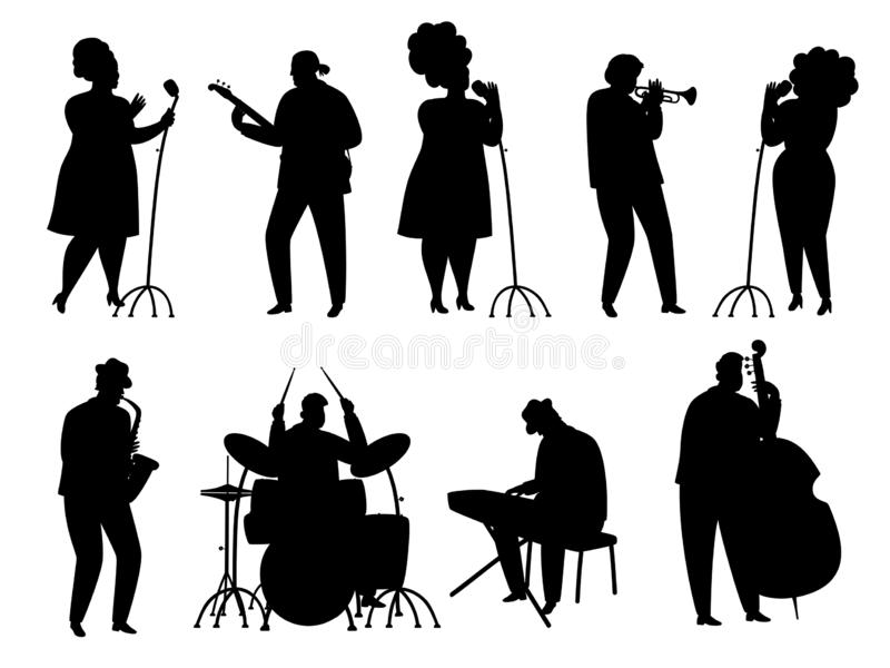 Czarni sylwetki muzycy jazzowi, piosenkarz, dobosz, pianista i saksofonista, royalty ilustracja