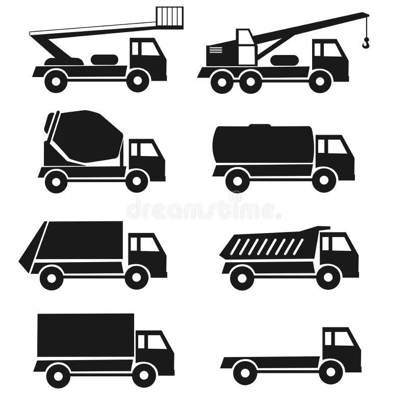 czarni szczegół ikon typ lorrry set 8 ciężarówek Odosobniony przemysłu pojazd royalty ilustracja