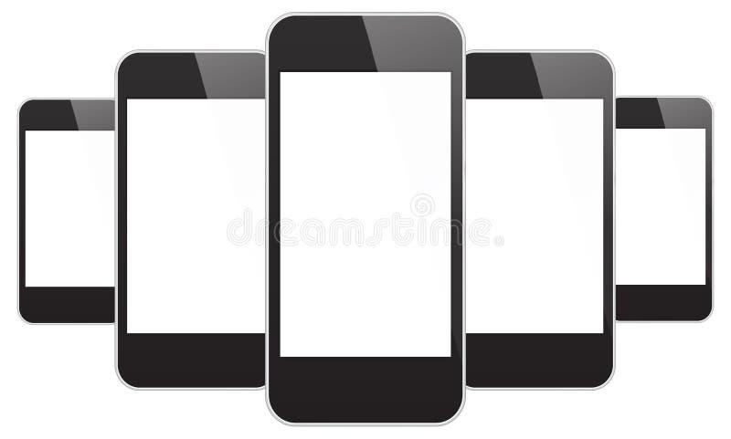 Czarni telefony komórkowi ilustracja wektor