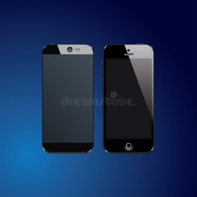 Czarni telefony komórkowi ilustracji