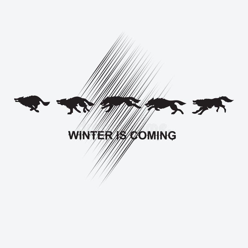 Czarni wilki na białym tle royalty ilustracja