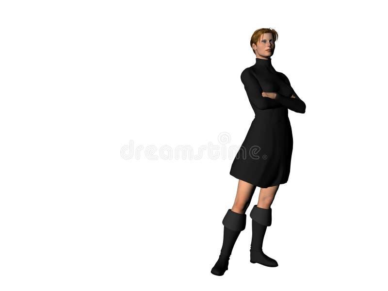 czarno 5 smokingowa dziewczyna ilustracja wektor