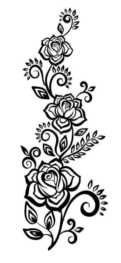 Czarno biały kwiatów i liści projekta element royalty ilustracja