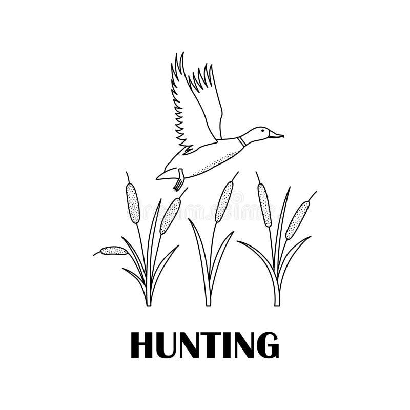 Czarno biały logo dla myśliwych z kaczką ilustracji