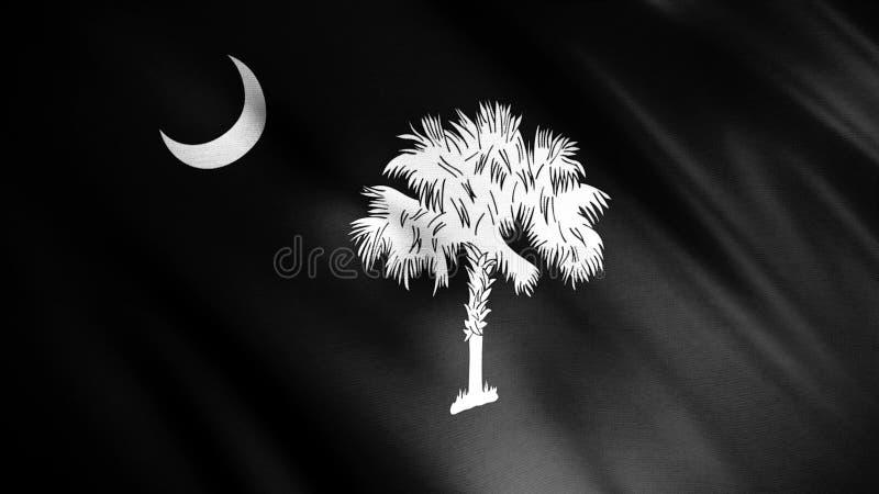 Czarno-biały Realistyczna Południowa Karolina USA Flaga machająca wiatrem, bezszwowa pętla Animacja Flaga z półksiężycem ilustracja wektor