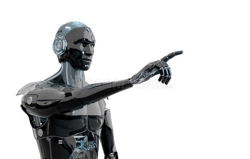 Czarno-niebieski inteligentny robot cyborg wskazujący palec na białym trójwymiarowym renderowaniu royalty ilustracja