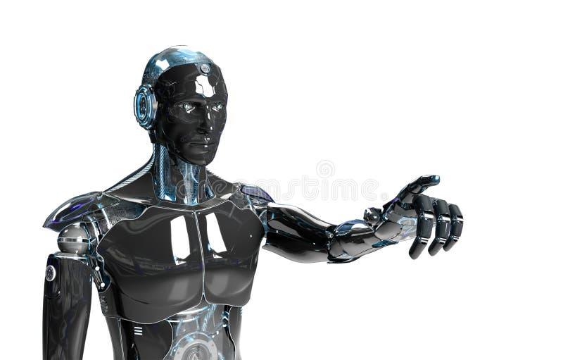 Czarno-niebieski inteligentny robot cyborg wskazujący palec na białym trójwymiarowym renderowaniu ilustracja wektor
