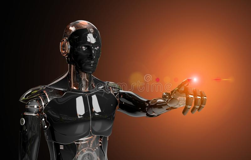 Czarno-pomarańczowy inteligentny robot cyborg wskazujący palec na ciemne renderowanie 3D ilustracji