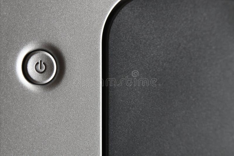 Czarno-szary przycisk zasilania sprzętu technicznego obrazy stock