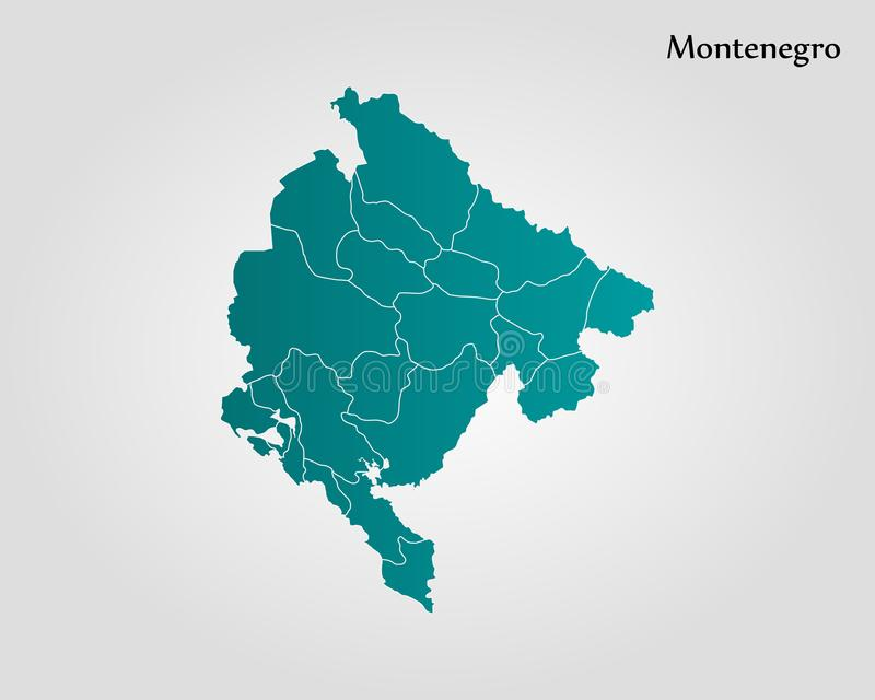 Czarnogóra mapa ilustracji