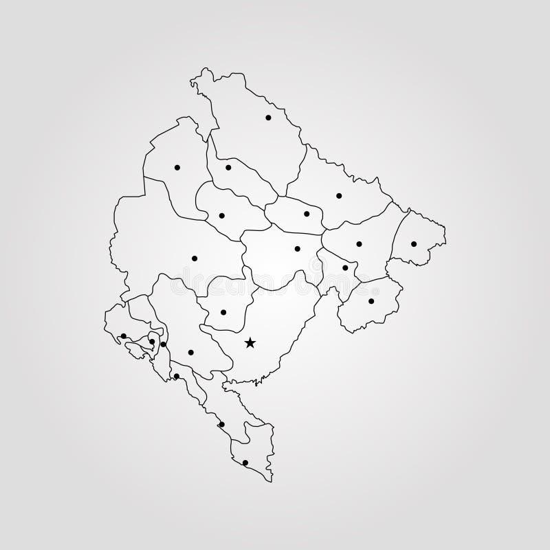 Czarnogóra mapa ilustracja wektor