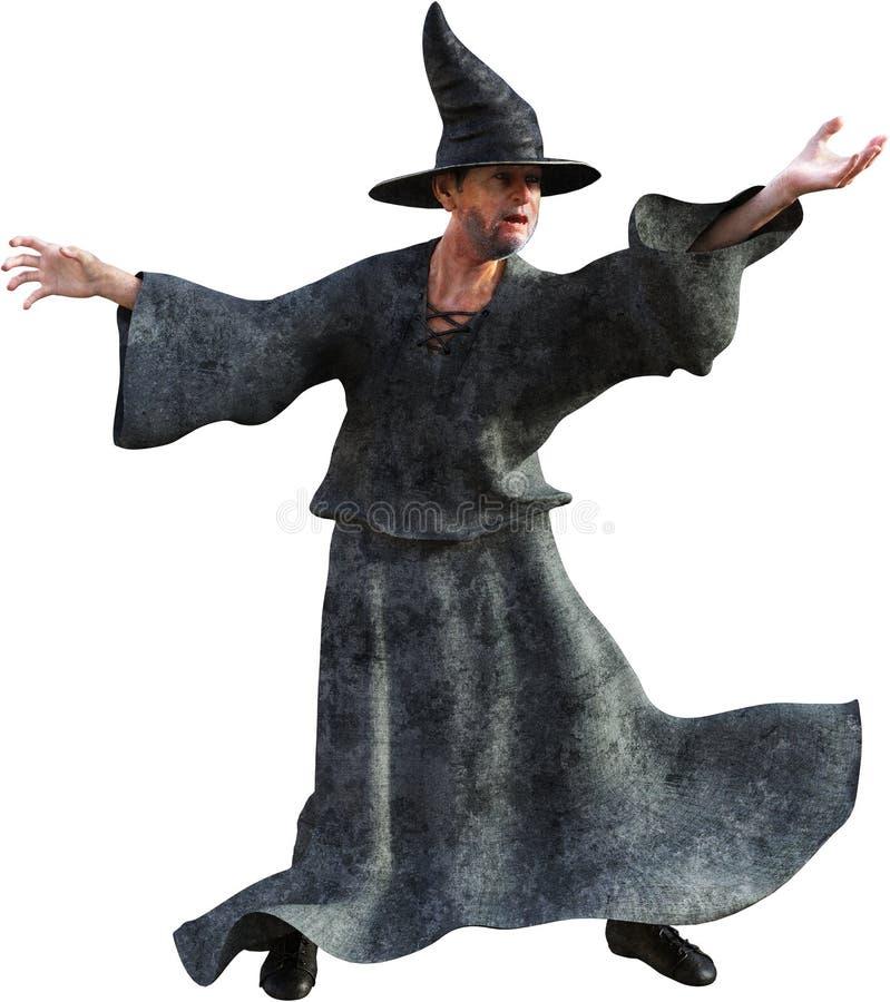 Czarnoksiężnik, czarownik, czarownica, Warlock, Odizolowywający ilustracji