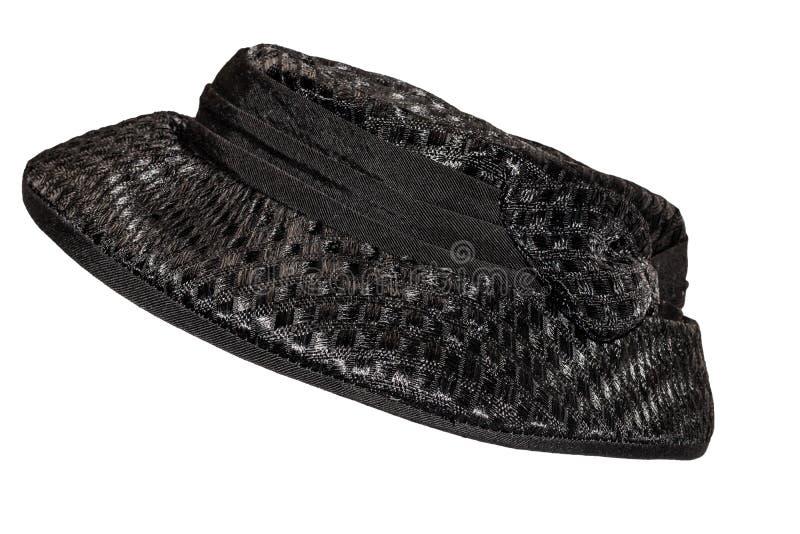 Czarny żeński kapelusz z rondo rocznika modą wczesny xx wiek fotografia royalty free