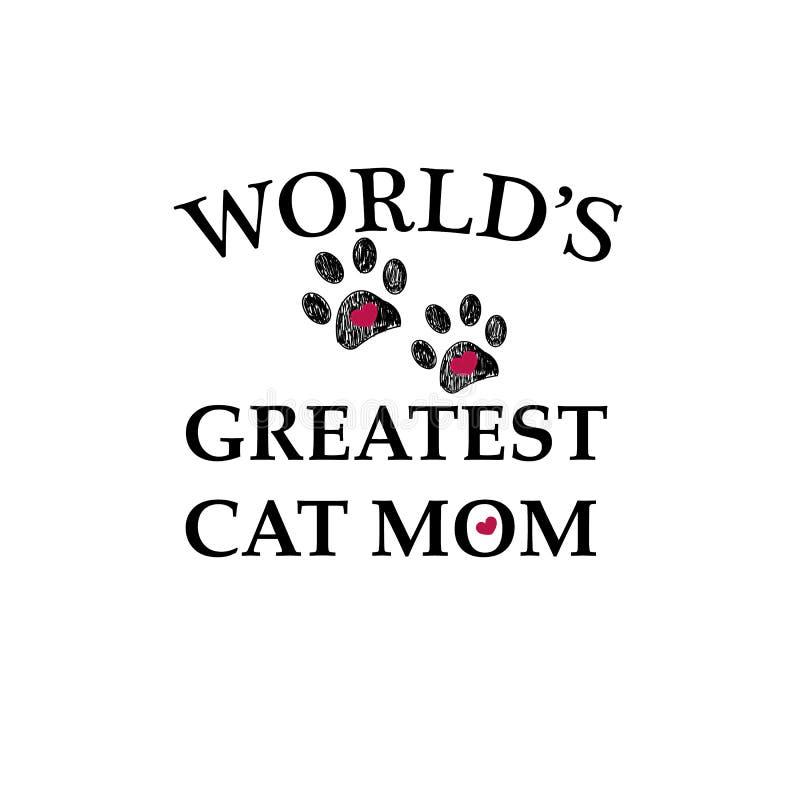 Czarny łapa druk z sercami Najlepszy kot mama Szczęśliwy macierzysty ` s dnia tło ilustracji