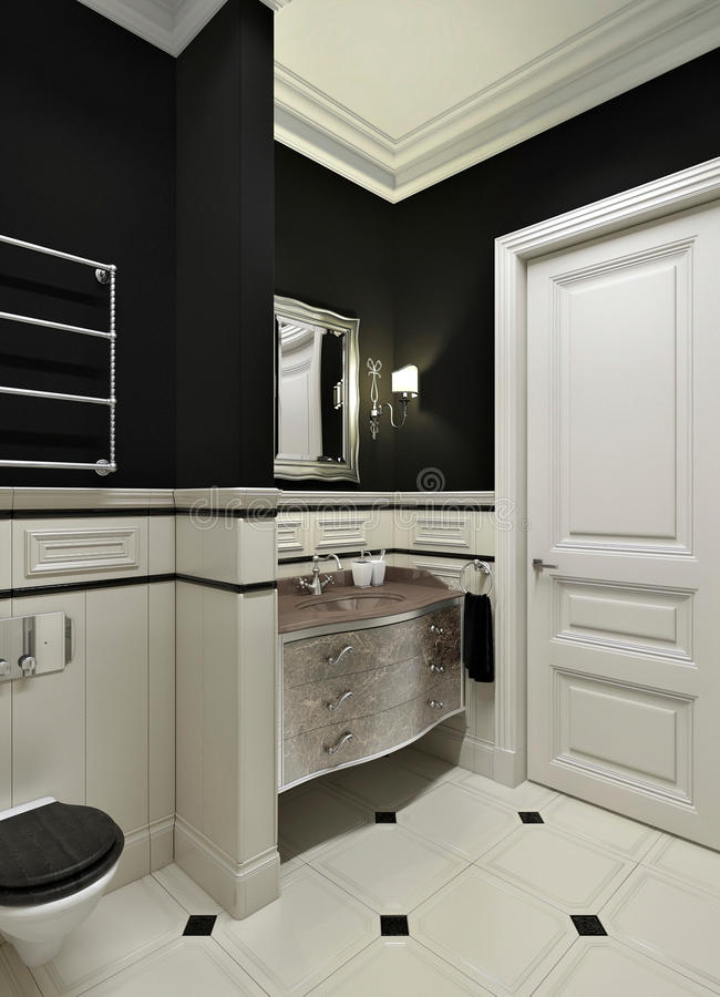 Czarny łazienka obraz royalty free
