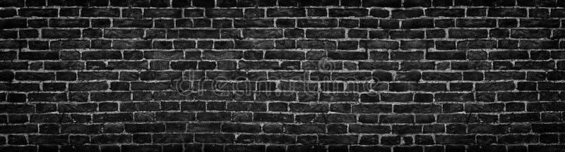 Czarny ściana z cegieł, szeroka panorama jako tło zdjęcie royalty free