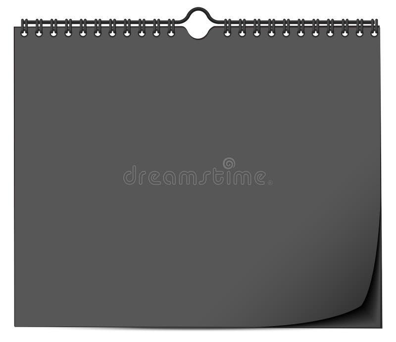 Czarny ściennego kalendarza egzamin próbny w górę szablonu z wiosną ilustracja wektor