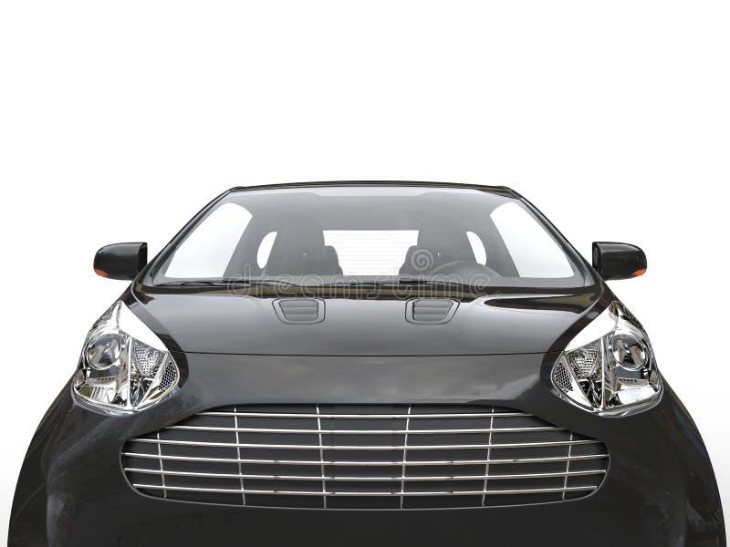 Czarny Ścisły samochód - Frontowy Krańcowy zbliżenie zdjęcie stock