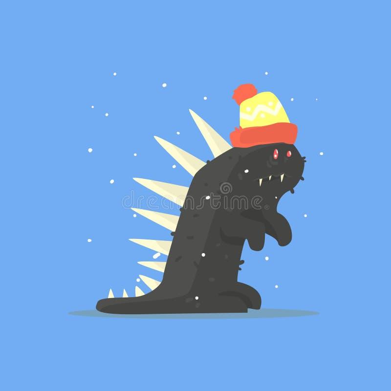 Czarny Śmieszny potwór Z kolcami W Ciepłym kapeluszu W zimie royalty ilustracja