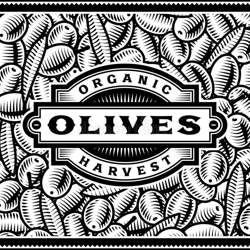 czarny żniwa etykietki oliwny retro biel ilustracji