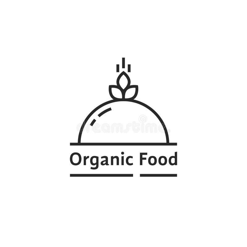 Czarny żywność organiczna logo jak naczynie ilustracji