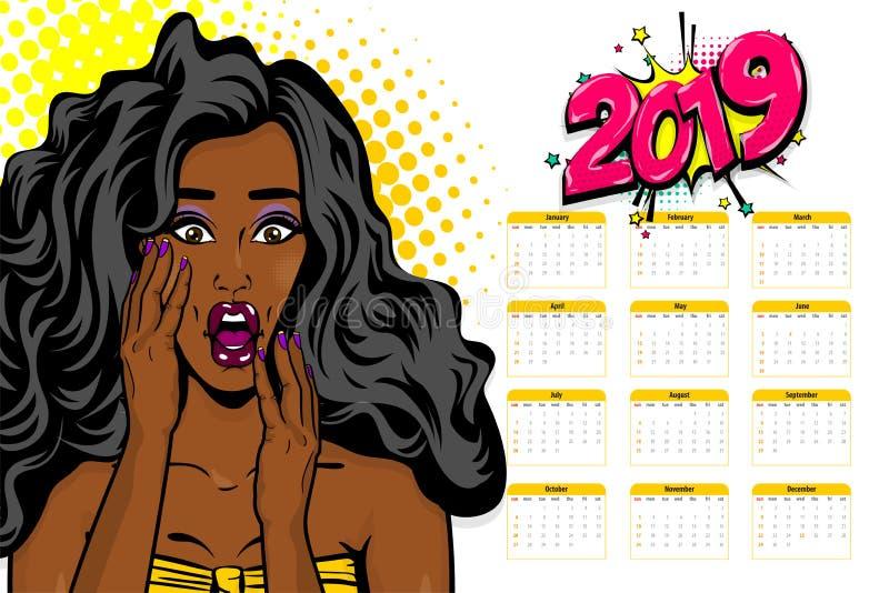 Czarny afroamerykański młody wystrzał sztuki kalendarz ilustracja wektor