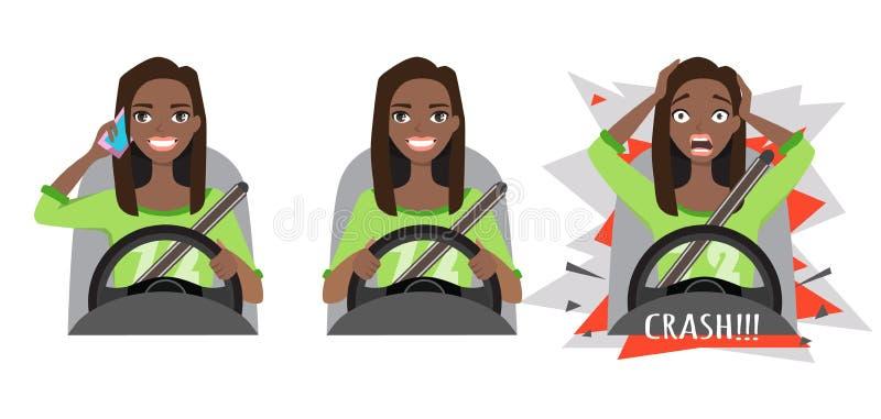 Czarny Afrykanin amerykańska kobieta jedzie samochód Kobieta jedzie samochód opowiada na telefonie Kobieta wypadek trzask ilustracja wektor