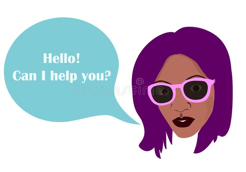 Czarny Afrykanin kobiety komiczki i sylwetka szybko się zwiększać z tekstem Cześć, mogę pomagać ciebie? szablon dla jakaś teksta royalty ilustracja