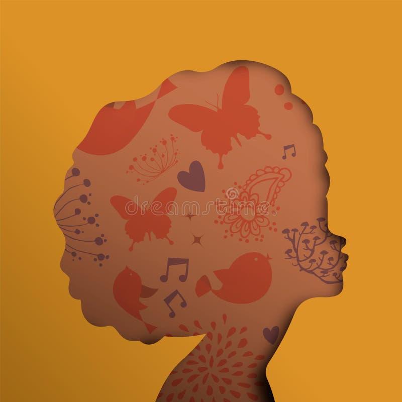Czarny Afrykanin kobiety twarz w papier wycinanki rżniętym stylu royalty ilustracja