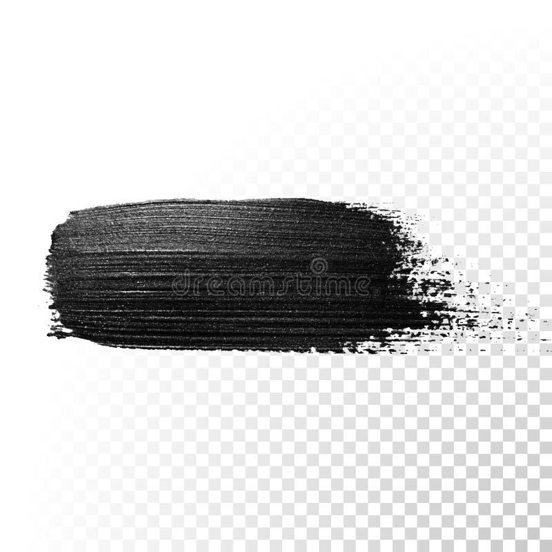 Czarny akwarela markiera muśnięcia uderzenie Wektorowy nafcianej farby guasz ilustracji
