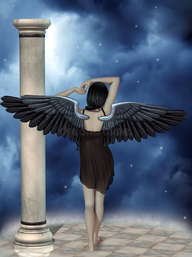 czarny anioł ciemności kontrastu koloru żółtego royalty ilustracja