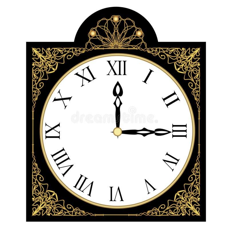 Czarny antyka bogato dekorujący zegar, zegarowa twarz z rzymskimi liczbami, odosobniony art deco przedmiot z złoty filigree royalty ilustracja