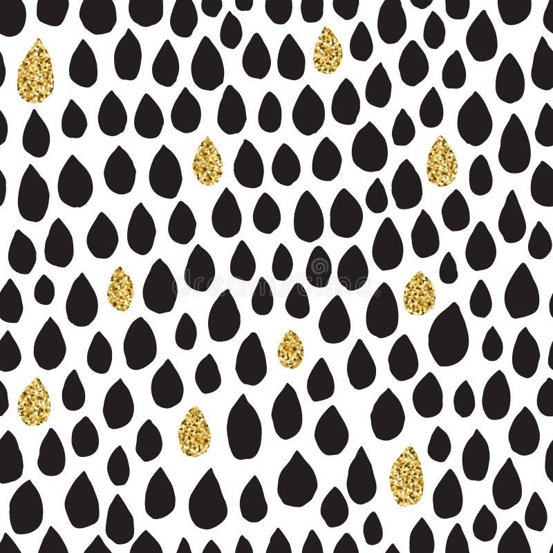 Czarny atramentu, bielu i złocistej błyskotliwości kropli wektorowy bezszwowy wzór, ilustracji