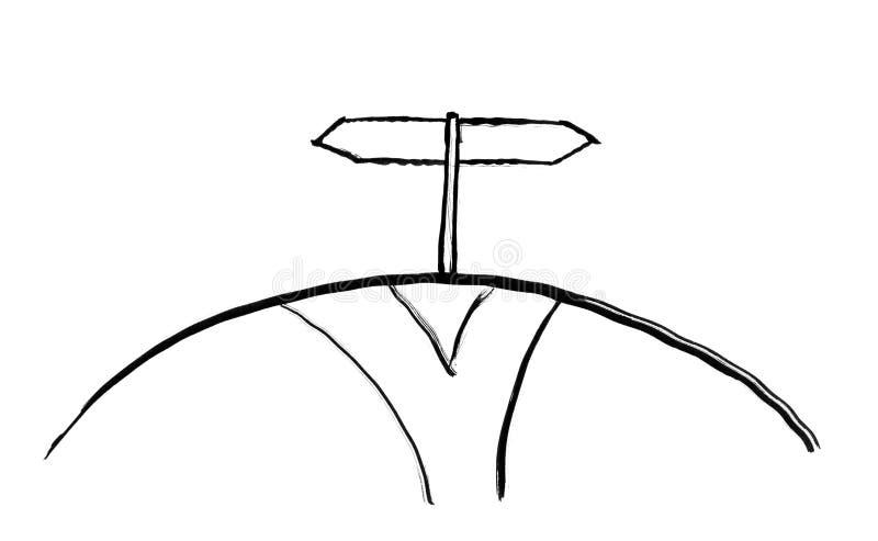 Czarny atramentu Grunge ręki rysunek ścieżka i Dwa Strzałkowaty Drogowy znak ilustracja wektor
