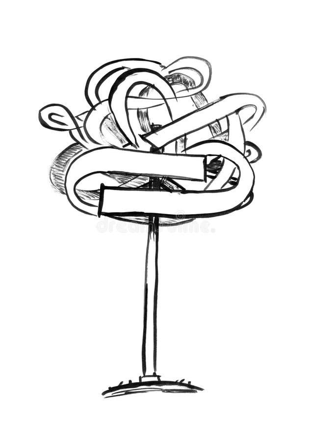 Czarny atramentu Grunge ręki rysunek Bałamutnej Drogowej strzały Szyldowy Wskazywać w chaosie ilustracja wektor