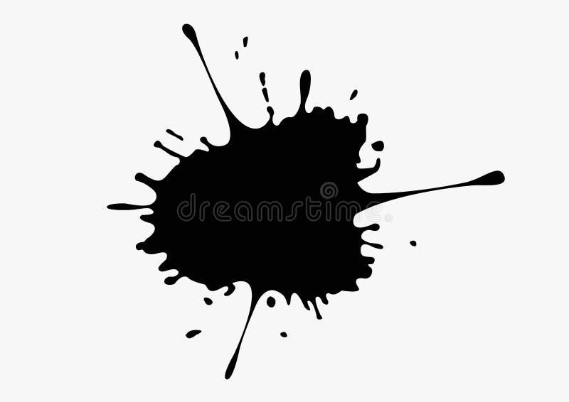 Czarny atramentu pluśnięcie na białym tle ilustracji