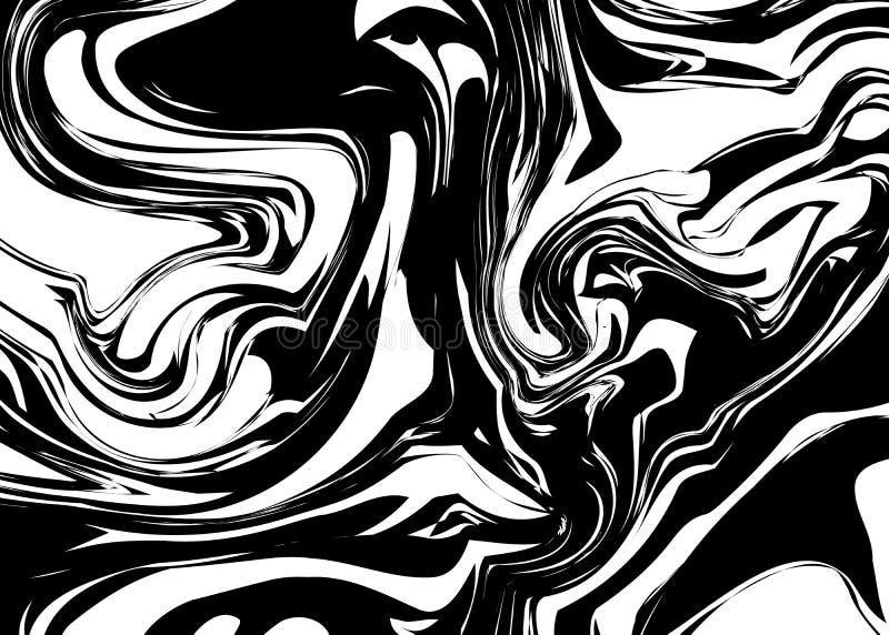 Czarny atramentu pluśnięcie z zawijasami na bielu royalty ilustracja