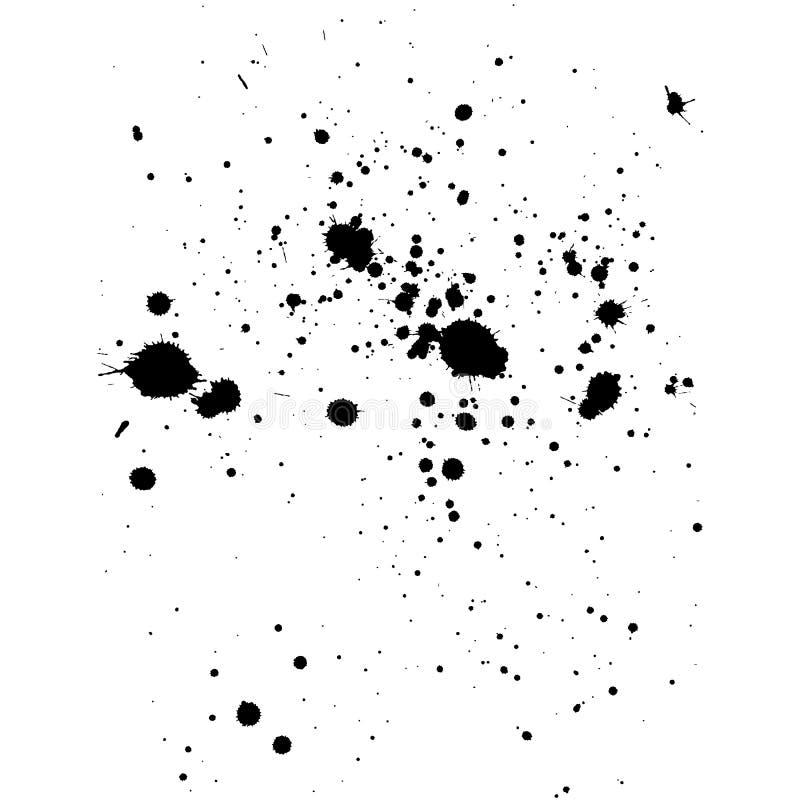 Czarny atramentu splatter tło, odizolowywający na bielu Wszystkie elementy a ilustracja wektor