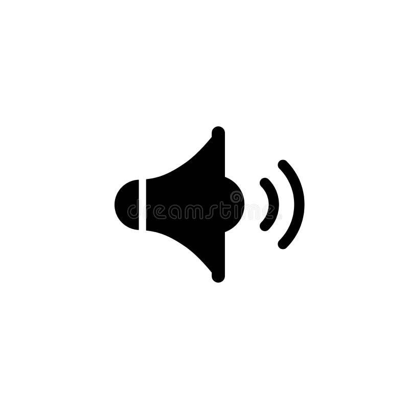 Czarny audio mówca odizolowywający na białym tle Płaski prosty wektor royalty ilustracja