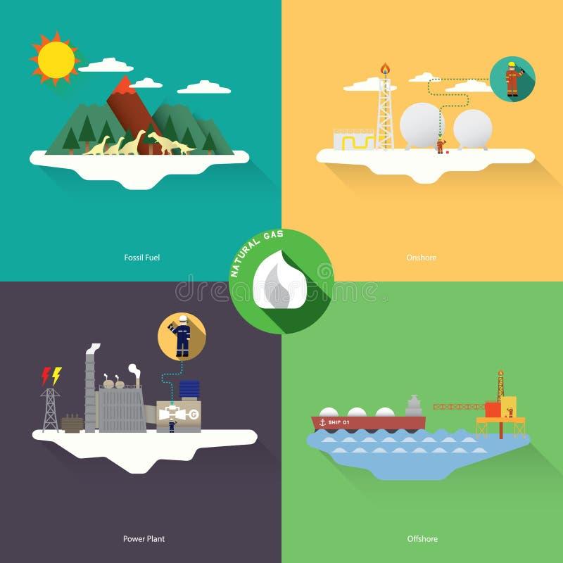 czarny błękitny paliwowego gazu naturalna drymba ilustracja wektor