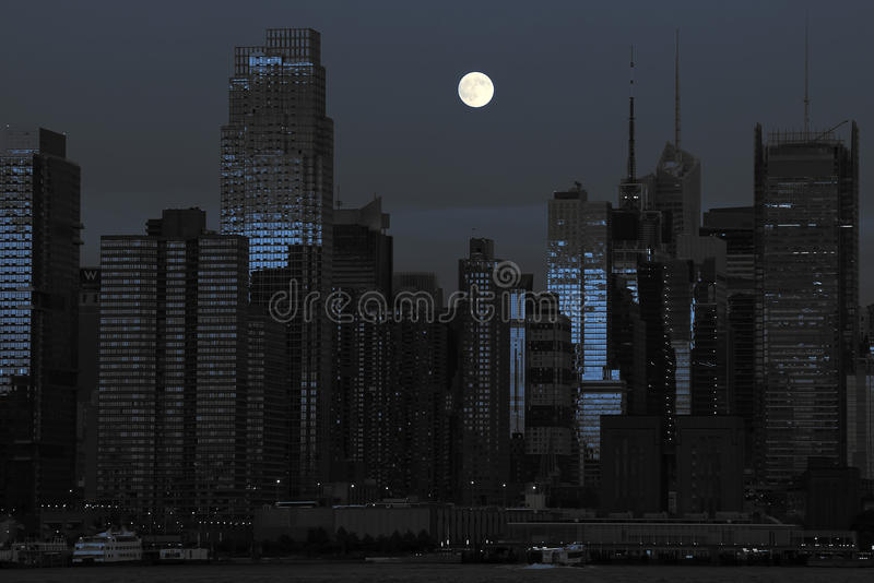 czarny błękitny pejzaż miejski nowy York fotografia royalty free