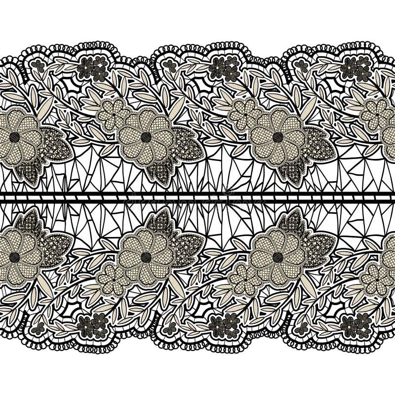 Czarny bezszwowy koronkowy szeroki pasek na białym tle Kwiecisty horyzontalny wzór dla projekta ilustracji