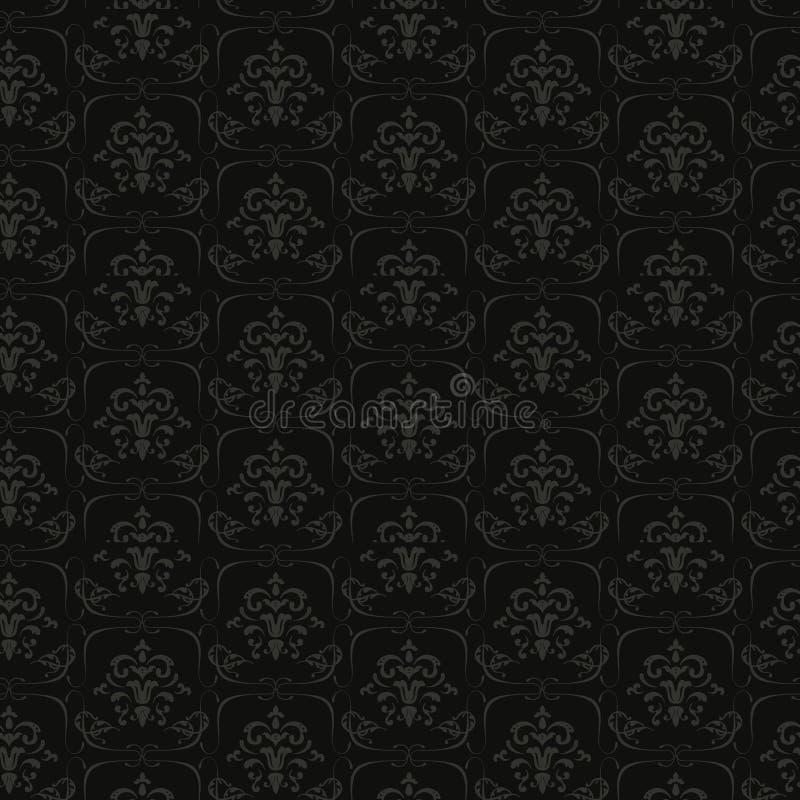 Czarny Bezszwowy Kwiecisty wzór ilustracji