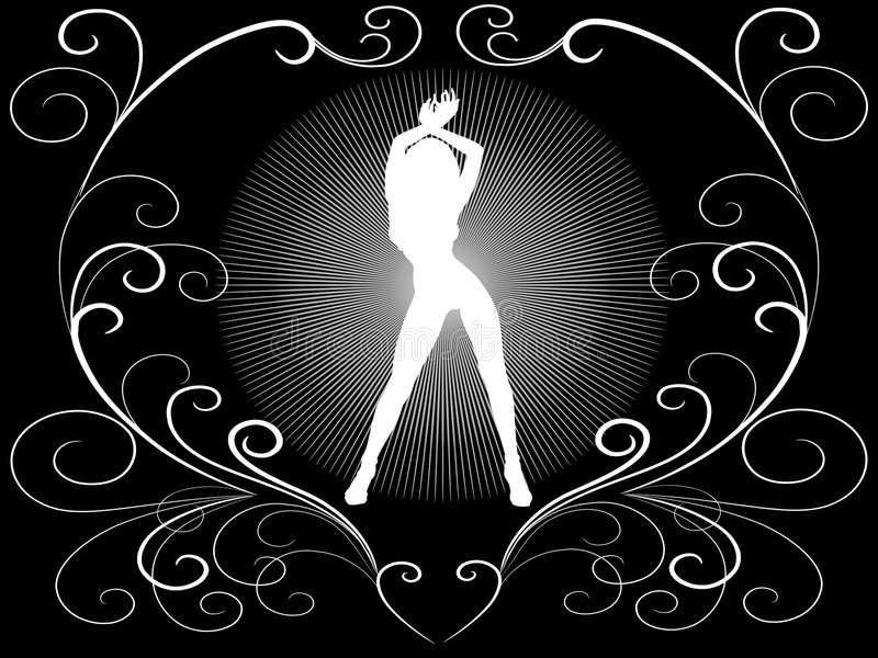 czarny biała kobieta ilustracji