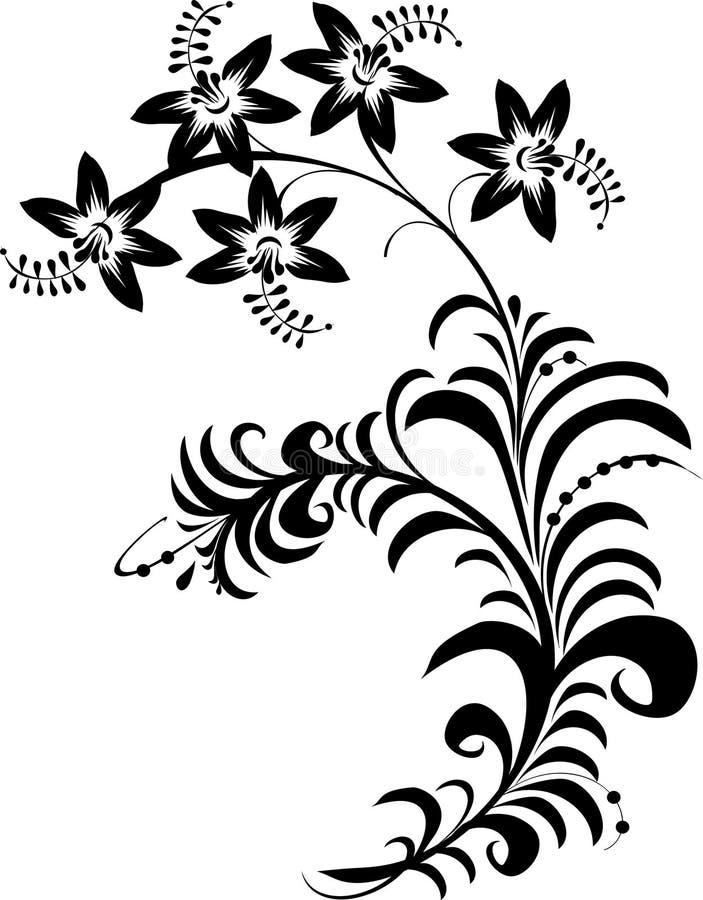 czarny białe kwiaty ilustracji