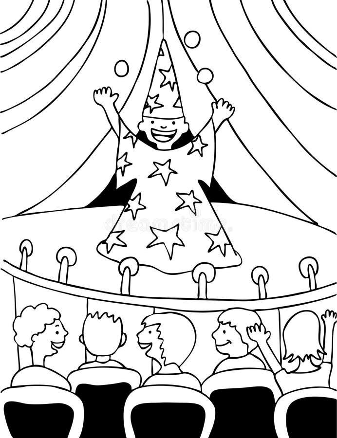 czarny biały czarownik royalty ilustracja