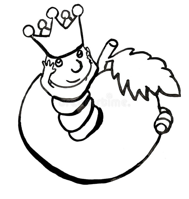 czarny biały dżdżownica royalty ilustracja