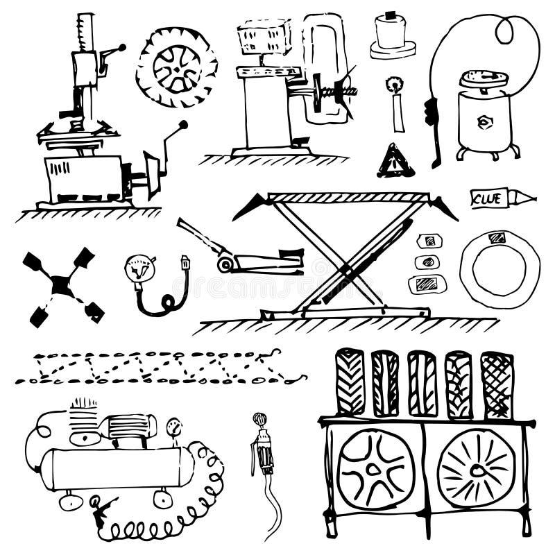 czarny biały doodle Opony usługa i opony naprawa Koło instalacja i równoważenie Sezonowa opony zmiana ilustracja wektor